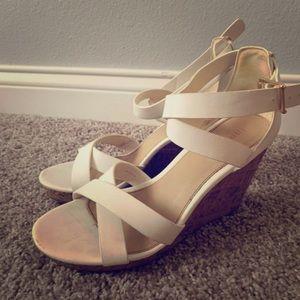 Cork white heels